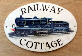 Railway Cottage Oval Sign