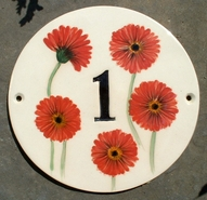Red Gerbera 1 Round Sign